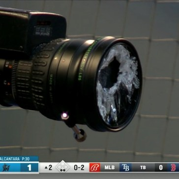 Video: Major League Baseball batter shatters camera lens with a foul ball
