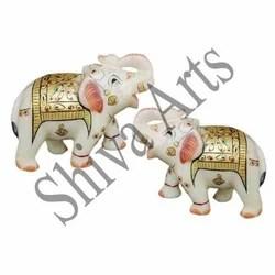 Golden Marble Elephants