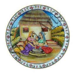 Hut and Ladies Marble Plate