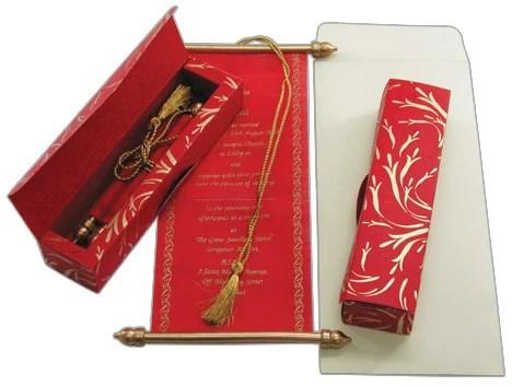 scroll invitations boxed silk