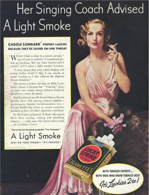 bohemea: Carole Lombard Lucky Strike ad