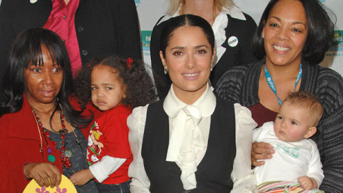 Salma Hayek was so taken aback by the plight of an African woman in Sierra Leone who was unable to breastfeed her child that the star breastfed the newborn herself. (via Salma Hayek breast feeds African baby // Current)