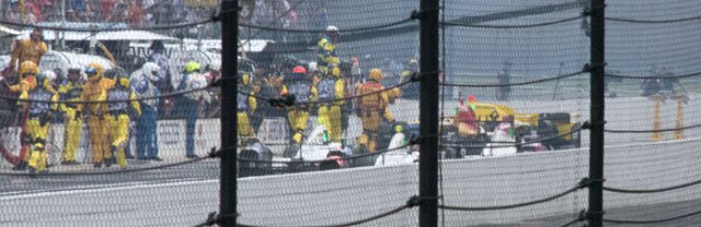 Townsend Bell ran into Helio Castroneves on pit road causing an incident with Ryan Hunter-Reay