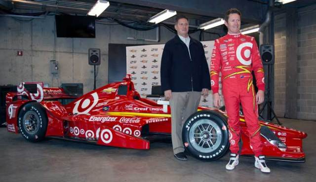 Scott Dixon unveiling his throwback Target livery at IndyCar Media Day