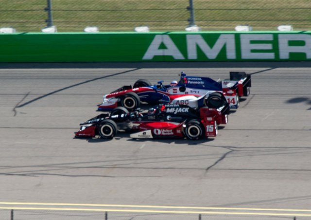 Graham Rahal side-by-side with Takuma Sato in practice at the Iowa Corn 300