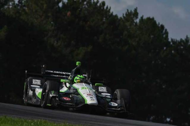 Conor Daly crests the Turn 5 hill during the Honda Indy 200 at Mid-Ohio