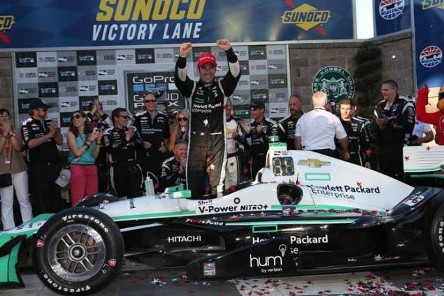 Simon Pagenaud celebrates in Victory Lane after winning the GoPro Grand Prix of Sonoma and the 2016 Verizon IndyCar Series Championship