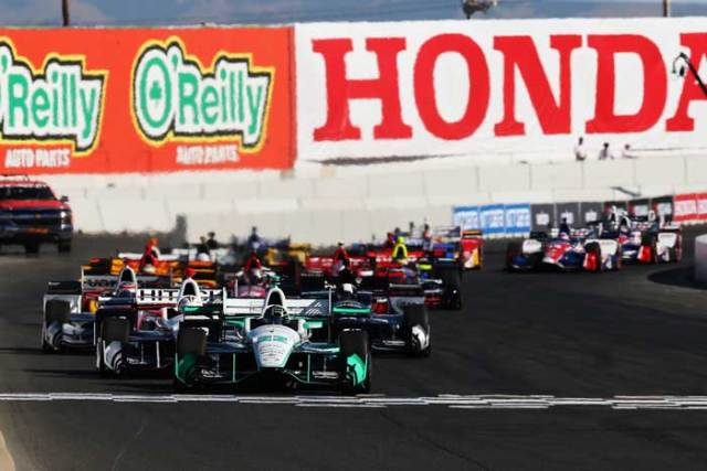 Simon Pagenaud leads the field to the green flag to start the GoPro Grand prix of Sonoma