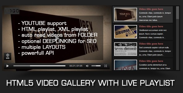 HTML5 Video Gallery with Live Playlist - CodeCanyon Item for Sale