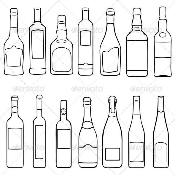 Wine Bottles Glasses Outline » Dondrup.com