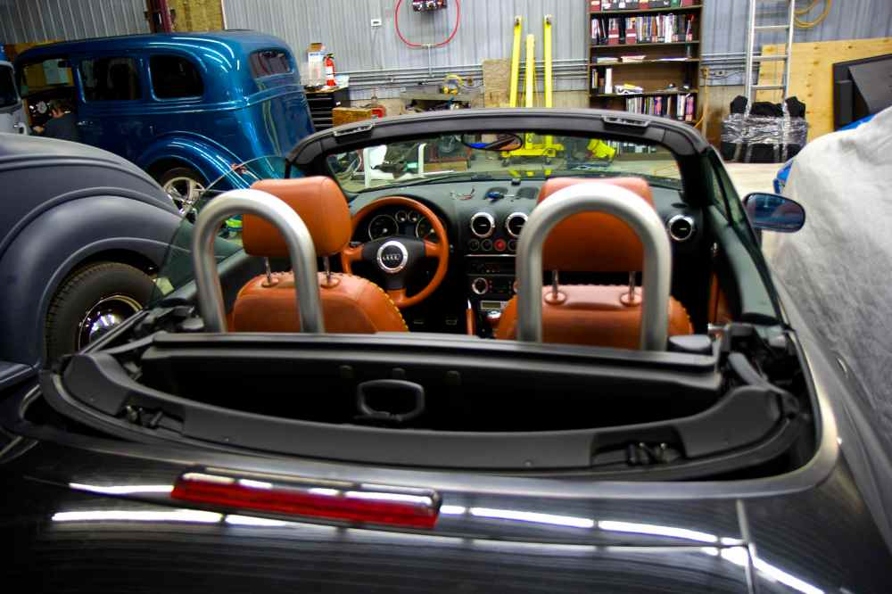 medium resolution of rear view of roadster without tonneau cover in place