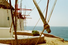 Windmills dating from the 16th century. Sails would be attached to the wooden scaffolding to catch the wind and thresh grain.
