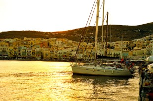 The harbor at Ermoupolis, on the island of Syros. Appropriately named for the Hermes, the divine messenger and god of commerce, today Ermoupolis forms the shipping center of the Cyclades.