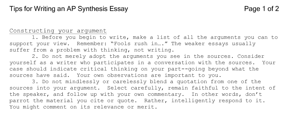 Synthesis Essay Ideas Ap Englishsynthesis Essay Homework Academic