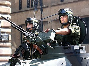 Mexican military personnel inside a tanker