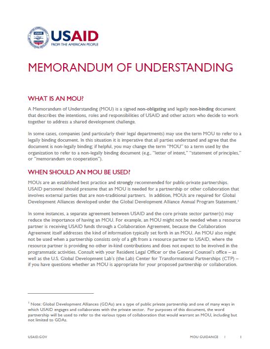 Memorandum of Understanding Guidance  Archive  US