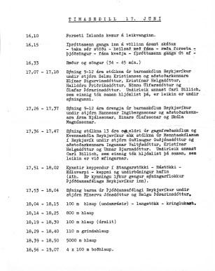Dagskrá fyrir vígslu Íþróttaleikvangs Reykjavíkur - Laugardalsvallar 17. júní 1959.
