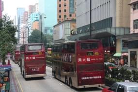Doppeldecker auf der Nathan Road, der Hauptstraße von Kowloon