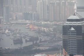 Teleaufnahme zum Hafen und Kowloon