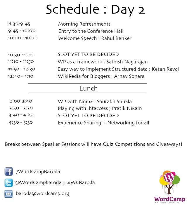 WCBaroda Schedule day 2