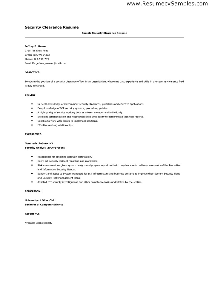 resume security clearance example