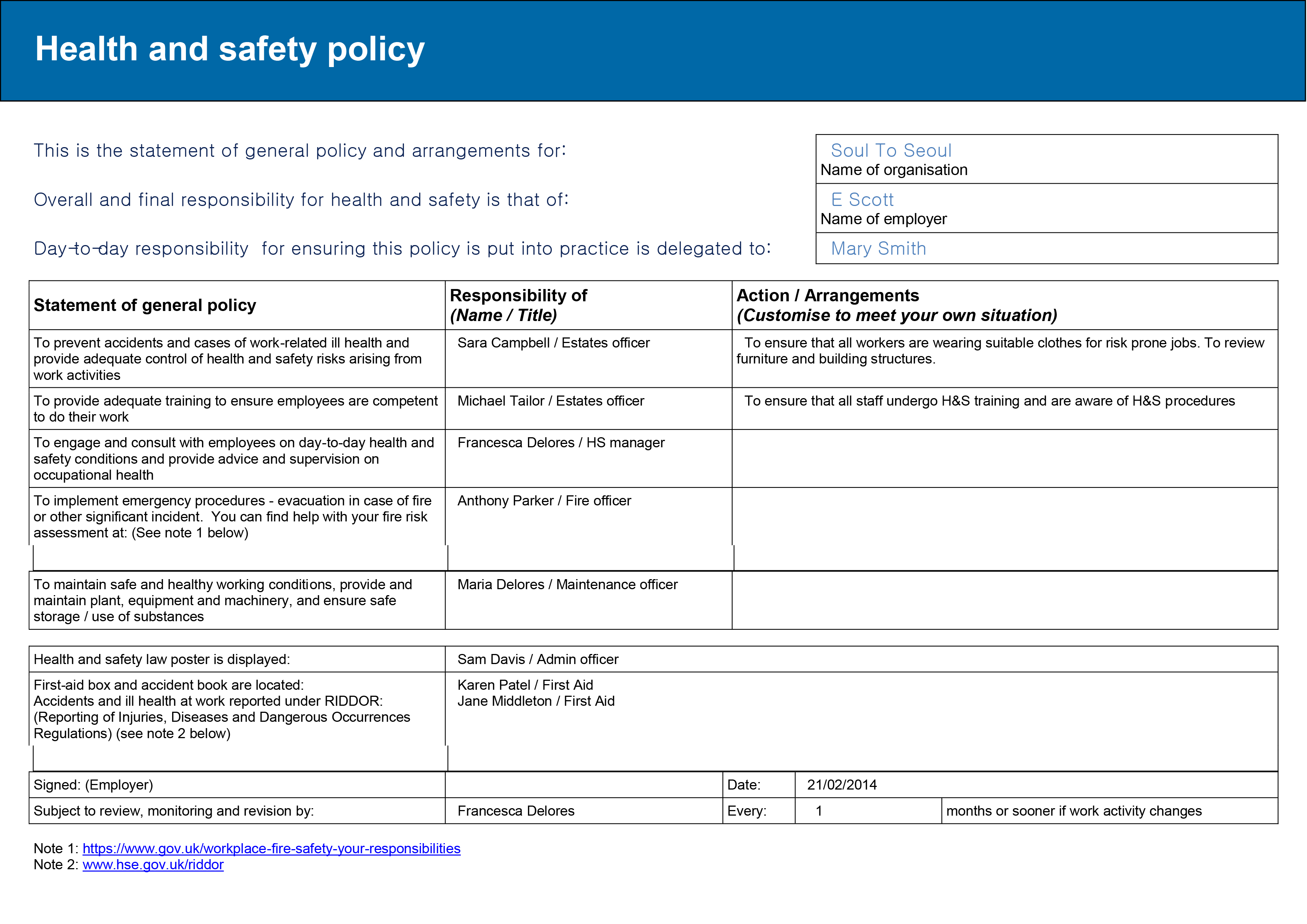 Healthy And Safety Executive And Risk Assessment