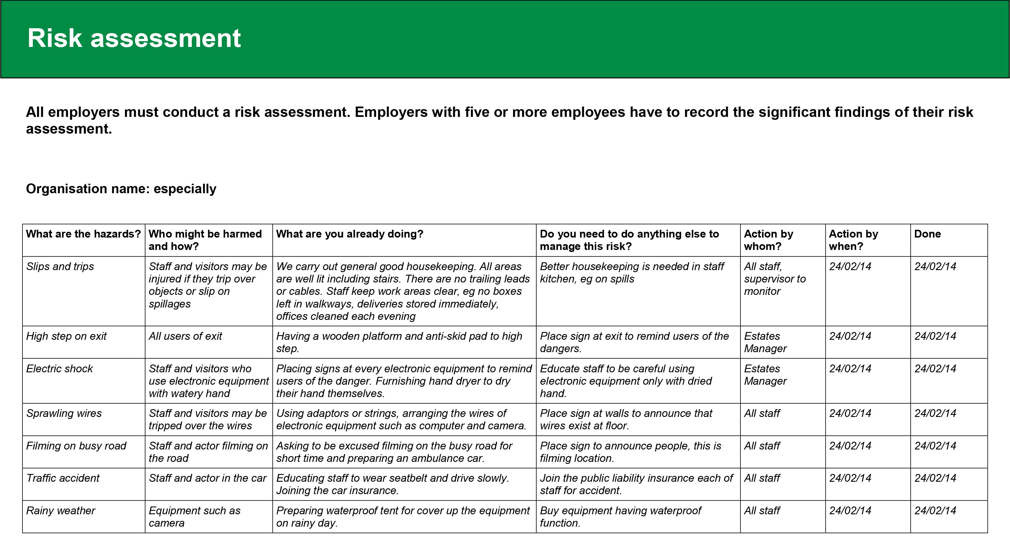 6 Risk Assessment Report