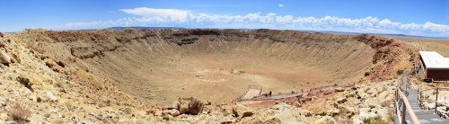 Panoramic view from upper deck of the Meteor Crater. Courtesy of WikiMedia user Tsaiproject under a Creative Commons license.