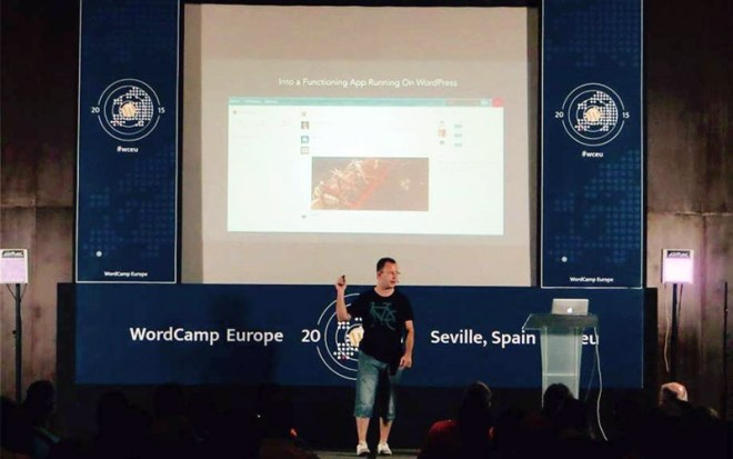 Daniel Pataki giving a talk at this years' WordCamp Europe