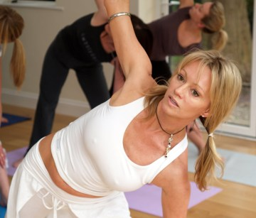 Triangle Pose in Weybridge Yoga Class