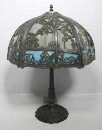 Antique Edward Miller & Co Nouveau Slag Glass Lamp Arts ...