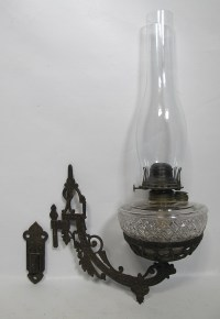 Antique 19th c Cast Iron Wall Bracket Queen Anne Glass Oil