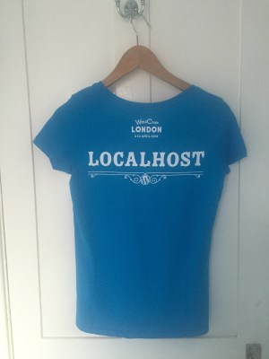 Back of the volunteer t-shirt, with the logo and the word localhost