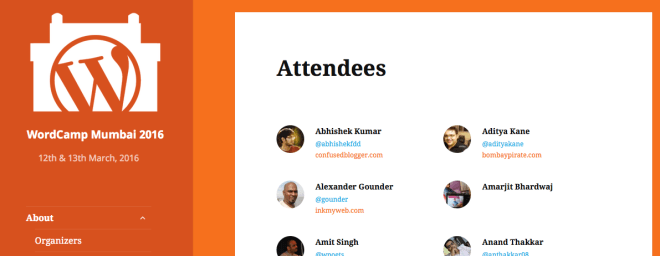 attendees page