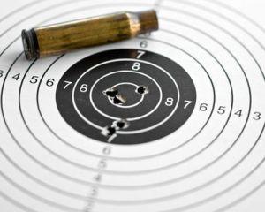 Zielscheibe mit Patronenhlse