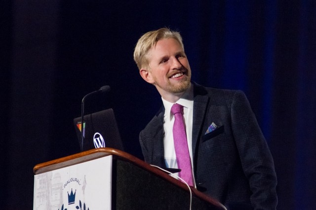Matt Mullenweg gives the State of the Word at WordCamp US 2015 #wcus Photo by Sheri Bigelow