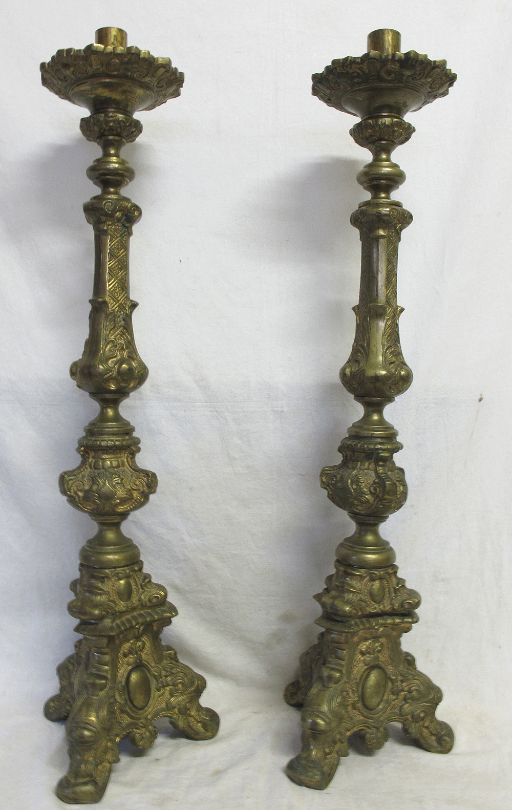 2 Antique 32 Ornate Gilt Brass Church Floor