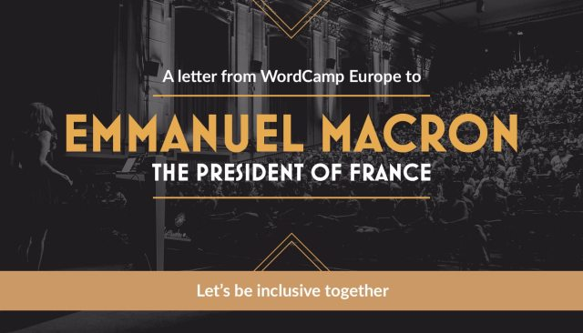 a letter from wordcamp europe to emmanuel macron the president of
