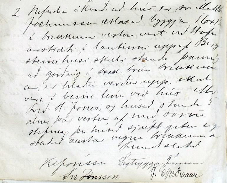 Fundargerðabók bygginganefndar, fundur 2. maí 1903. Þarna var kveðið á um hvar hús Matthíasar skyldi vera.