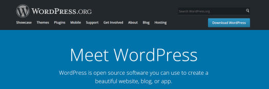 image of WordPress homepage