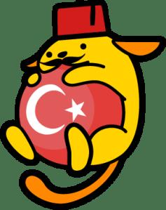 Wapuu with a fez and ball with Turkey's emblem