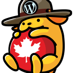 Wapuu with a mountie hat and maple leaf ball