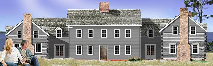 Classic saltbox log and timber frame home from Tradition Design Inc.