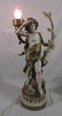 Antique French Gilded Spelter Art Nouveau Young Boy af ...