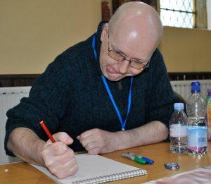 Michael Carroll, hard at work