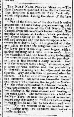 Evening Star. (Washington, D.C.) November 10, 1857, Page 1 - The Noon-Day Prayer Meeting
