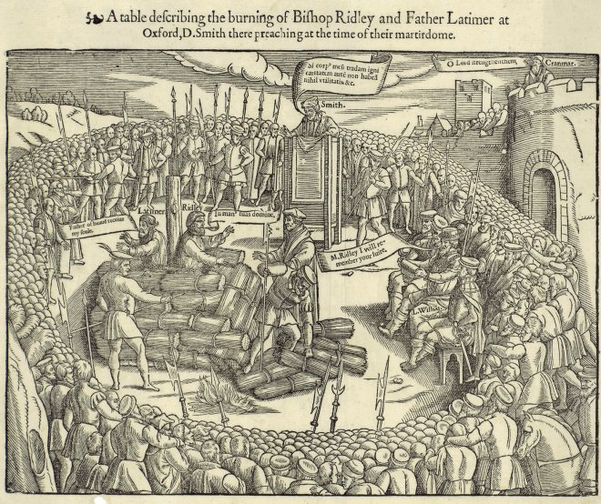 Foxes Book of Martyrs' woodcut of the burning of Latimer & Ridley