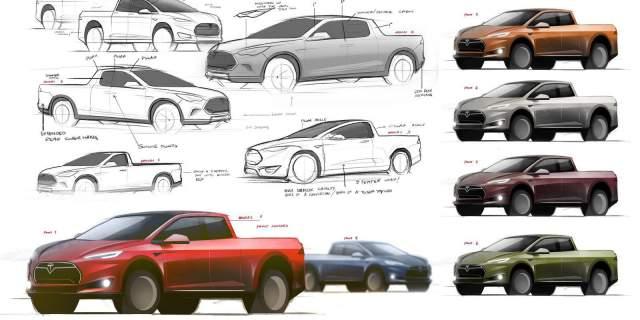 Tesla Pickup Truck Concept Model sketch