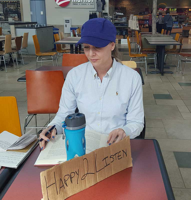 Dr Robyn doing Happy To Listen at the mall