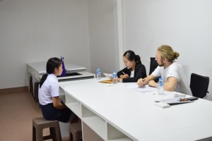 Secretary Moukdala Keomixai (LGTC) and Johannes Zeck (BHS and AfC) during the interviews